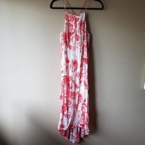 WAYF | Red and White Floral Maxi Dress